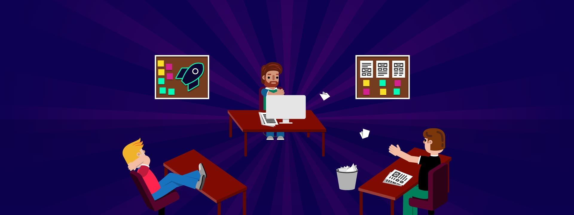 Illustration of a team at Digital Agency